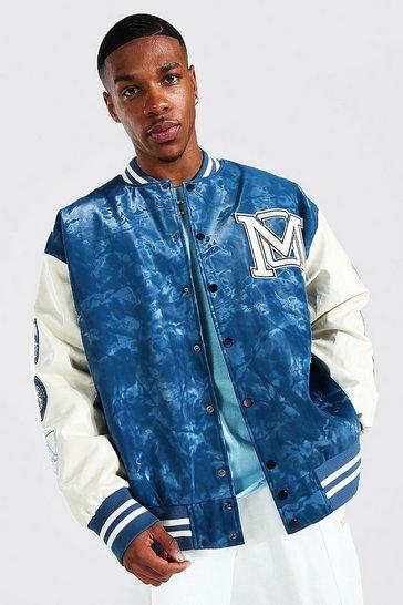 Blue Oversized Acid Wash Official Varsity Jacket