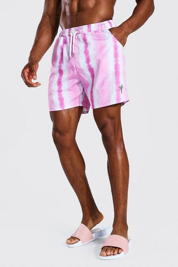 Pink Mid Length Tie Dye Palm Swim Short