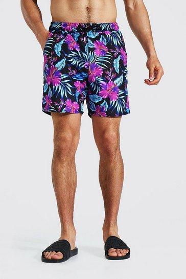 Black Mid Length Floral Swim Short