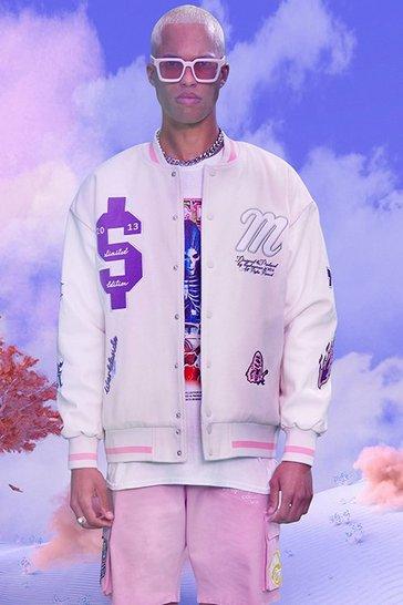 Ecru white Oversized Department Homme Varsity Jacket