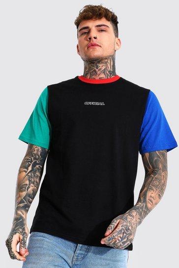 Black Regular Official Colour Block T-shirt