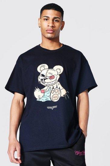 Black Oversized Teddy Graphic T-shirt