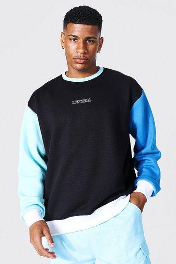Black Oversized Official Colour Block Sweatshirt