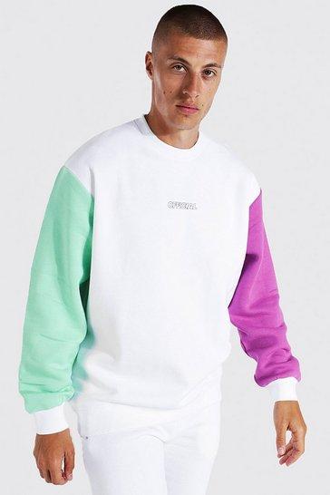 White Oversized Official Colour Block Sweatshirt
