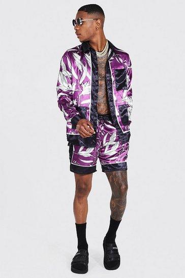 Purple Long Sleeve Satin Palm Shirt And Short Set