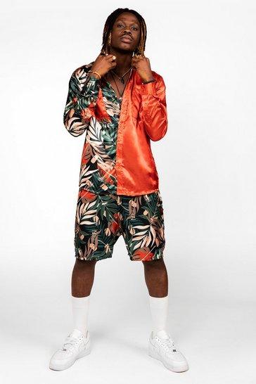 Brown Long Sleeve Satin Palm Spliced Shirt And Short Set