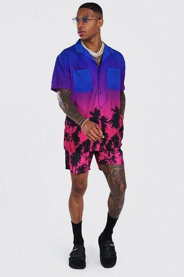 Blue Oversized Ombre Shirt And Swim Short Set