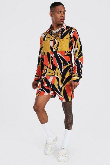 Orange Long Sleeve Viscose Leaf Shirt And Short Set
