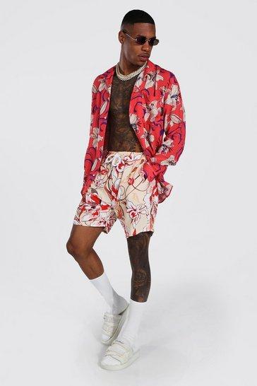 Multi Long Sleeve Viscose Floral Shirt And Short Set