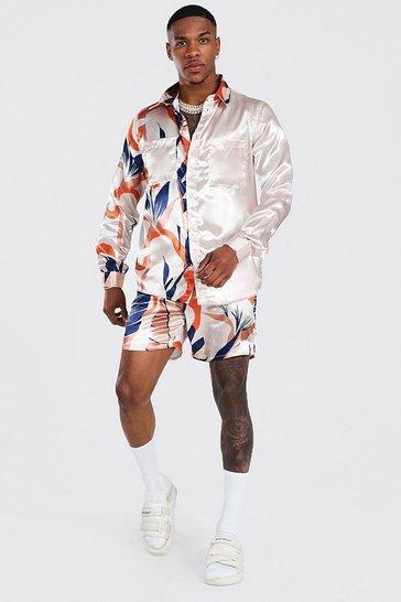 Ecru white Long Sleeve Satin Leaf Spliced Shirt And Short Set