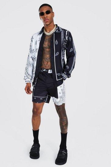 Black Long Sleeve Paisley Shirt And Swim Short Set