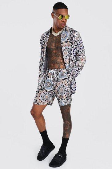 Multi Long Sleeve Viscose Aztec Shirt And Short Set