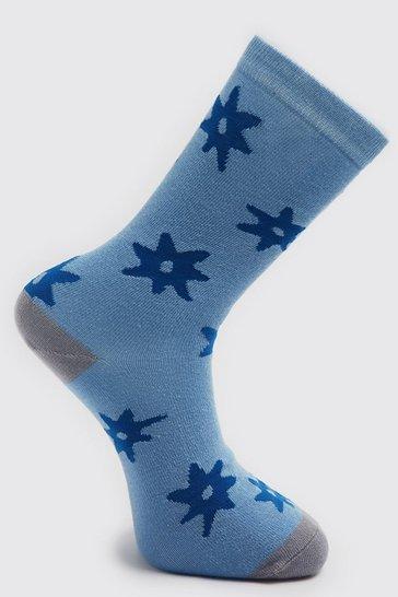 Multi 2 Pack Leaf Print Sock