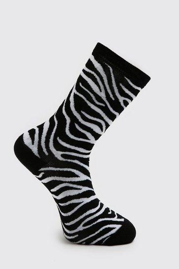 Black 2 Pack Zebra Print Sock