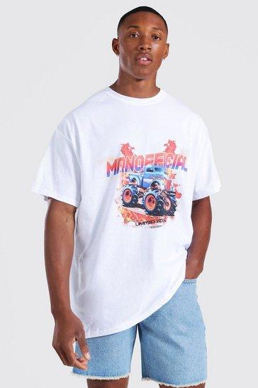 White Oversized Man Official Car T-shirt