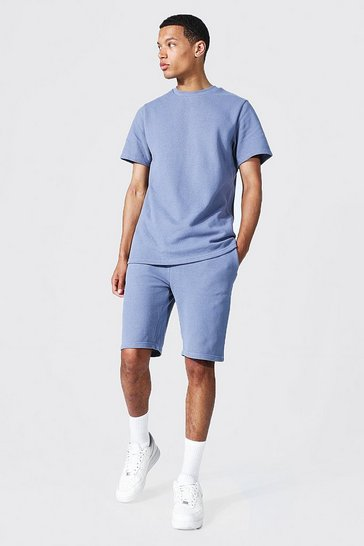 Blue Tall Slim Fit T-shirt And Short Set
