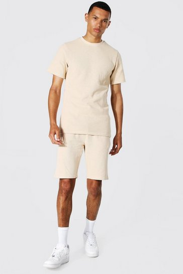 Stone beige Tall Slim Fit T-shirt And Short Set