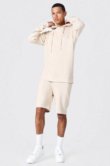 Stone beige Tall Slim Fit Pique Short Tracksuit