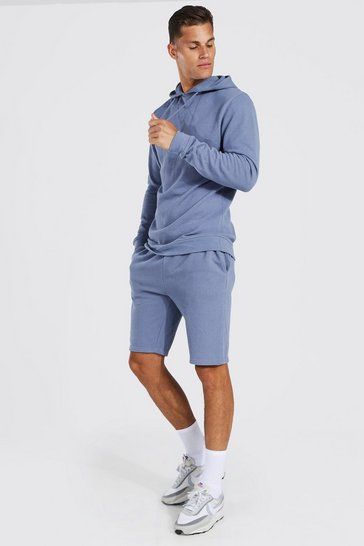 Blue Tall Slim Fit Pique Short Tracksuit