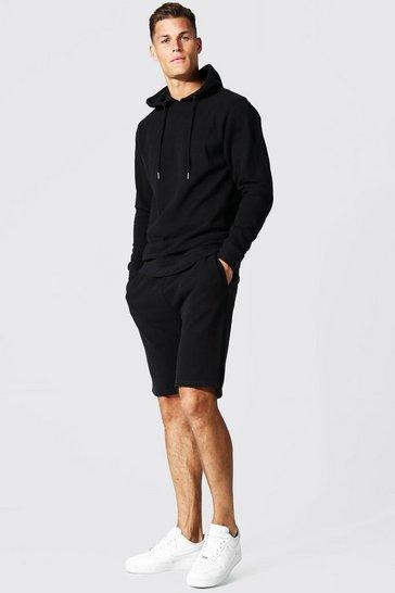 Black Tall Slim Fit Pique Short Tracksuit