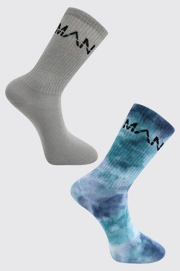 Navy 2 Pack Man Dash Tie Dye Socks