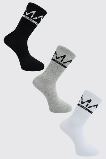 Multi 3 Pack Man Dash Large Branded Socks