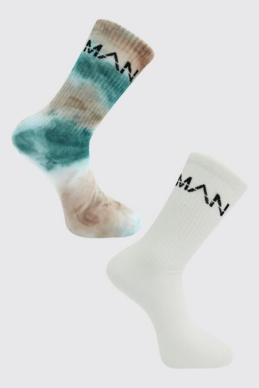 Sage green 2 Pack Man Dash Tie Dye Socks