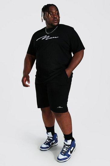 Black Plus 3d Man Embroidered T-shirt Short Set