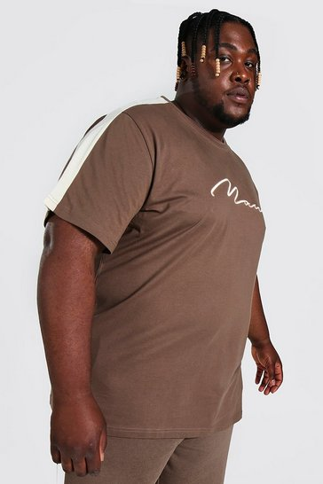 Chocolate brown Plus 3d Man Embroidered Panel T-shirt Set