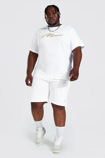 White Plus 3d Man Embroidered T-shirt Short Set