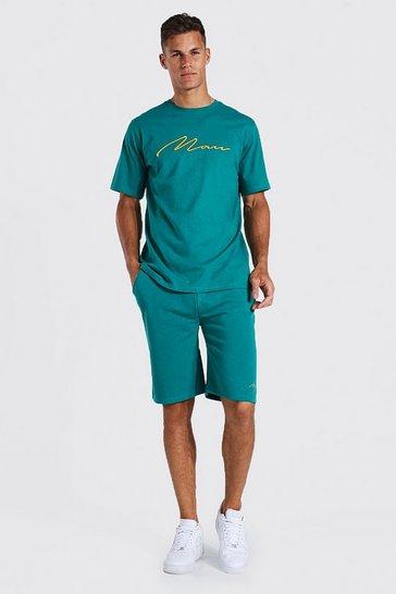 Teal green Tall 3d Man Embroidered T-shirt Short Set