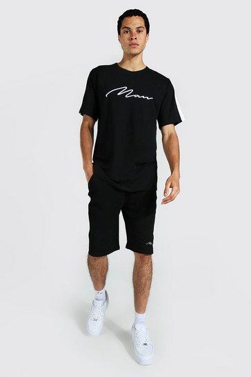 Black Tall 3d Man Embroidered Panel T-shirt Set