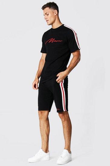 Black Tall 3d Man Embroidered Tape T-shirt Set