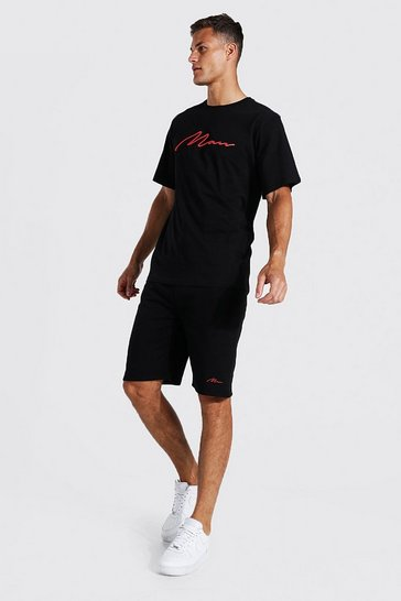 Black Tall 3d Man Embroidered T-shirt Short Set