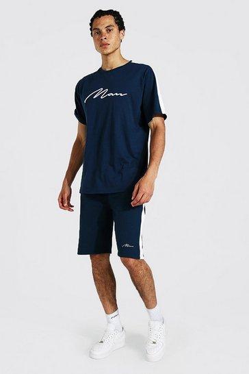 Navy Tall 3d Man Embroidered Panel T-shirt Set