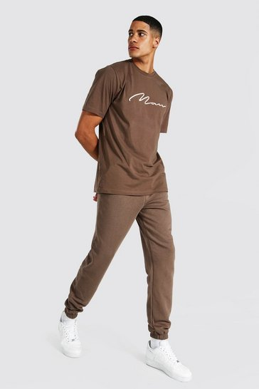 Chocolate brown Tall 3d Man Embroidered T-shirt Jogger Set