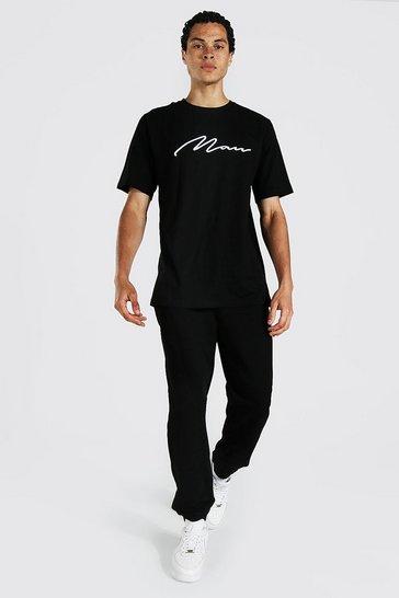 Black Tall 3d Man Embroidered T-shirt Jogger Set