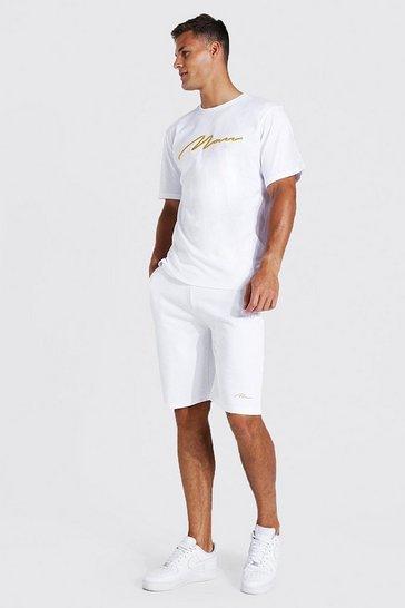 White Tall 3d Man Embroidered T-shirt Short Set