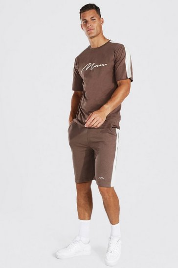Chocolate brown Tall 3d Man Embroidered Panel T-shirt Set
