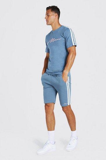 Blue Tall 3d Man Embroidered Tape T-shirt Set