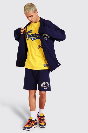 Navy Worldwide Knitted Cardigan Set