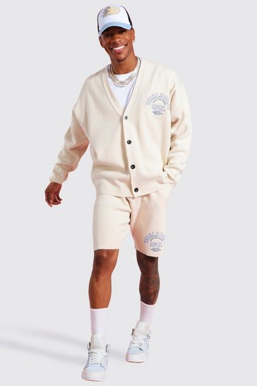 Ecru white Worldwide Knitted Cardigan Set