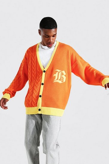 Orange Oversized Spliced Knit Gothic B Varsity Cardi