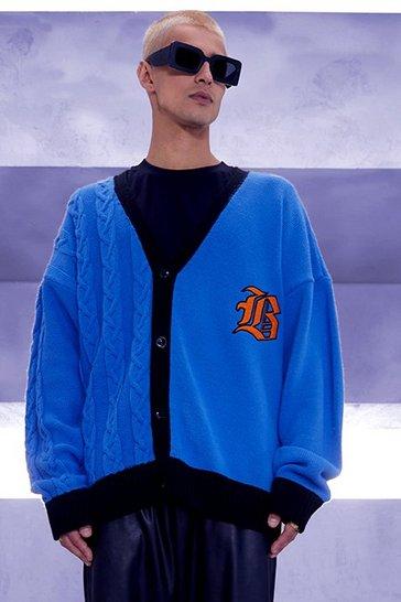 Blue Oversized Spliced Knit Gothic B Varsity Cardigan