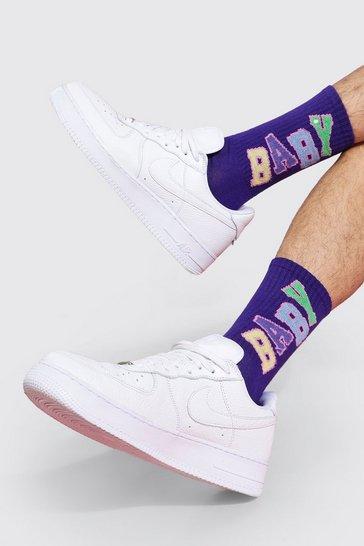 Purple 3 Pack Jacquard Socks