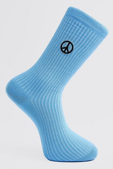 Blue Peace Embroidered Socks