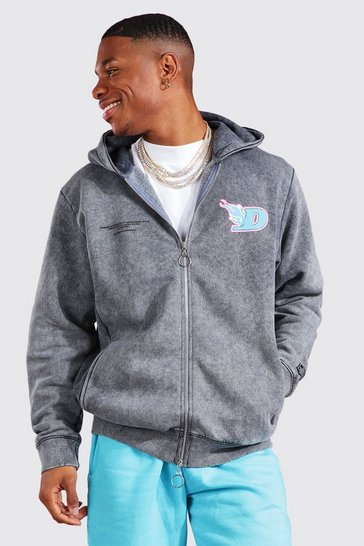 Charcoal grey Acid Wash Zip Through Hoodie