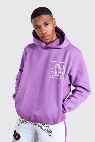 Purple Slogan Front & Back Print Hoodie