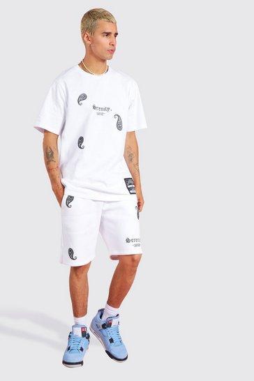 White Paisley Embroidered Short Set
