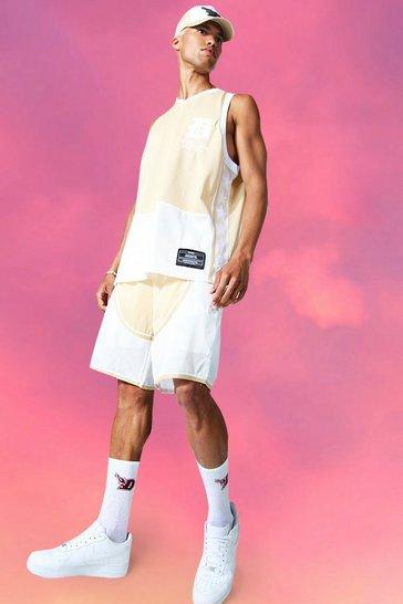 Stone beige Oversized Vest Basketball Short Set
